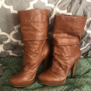 Jessica Simpson tan leather mid calf boot
